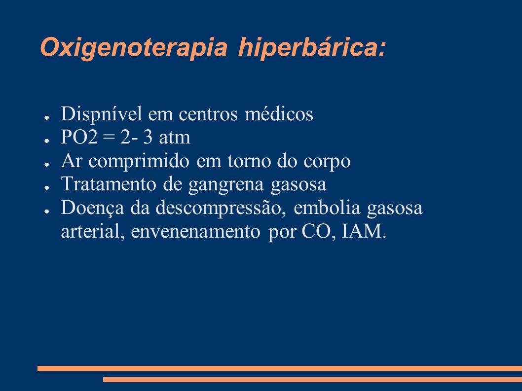 Oxigenoterapia hiperbárica: Dispnível em centros médicos PO2 = 2- 3 atm Ar comprimido em torno do corpo Tratamento de gangrena gasosa Doença da descom