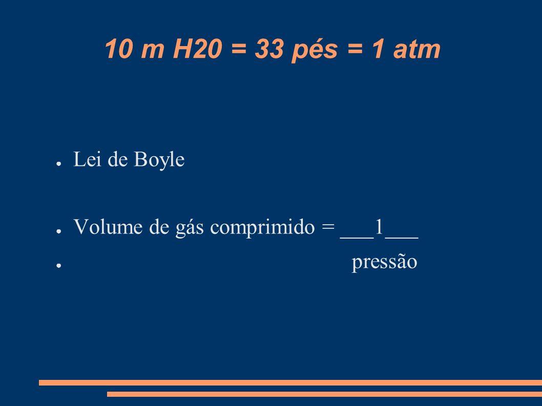 10 m H20 = 33 pés = 1 atm Lei de Boyle Volume de gás comprimido = ___1___ pressão