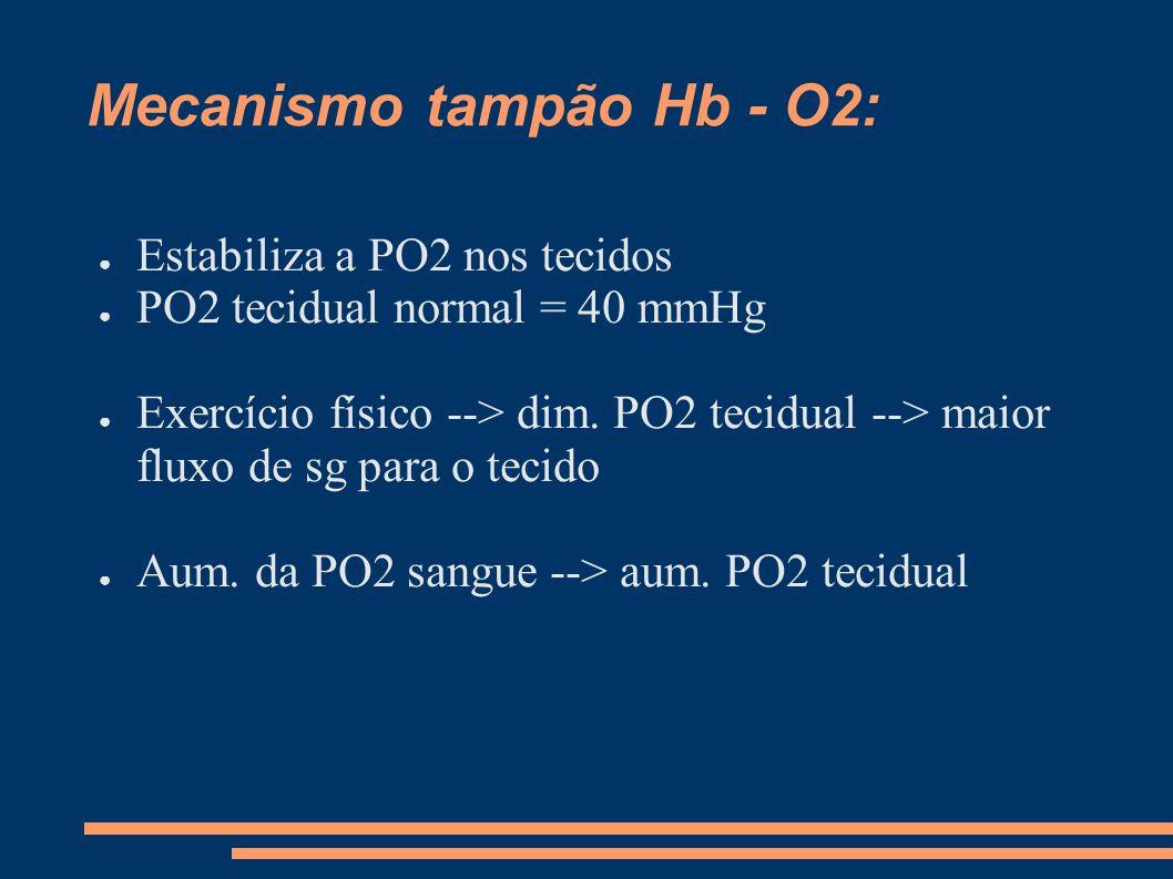 Mecanismo tampão Hb - O2: Estabiliza a PO2 nos tecidos PO2 tecidual normal = 40 mmHg Exercício físico --> dim. PO2 tecidual --> maior fluxo de sg para