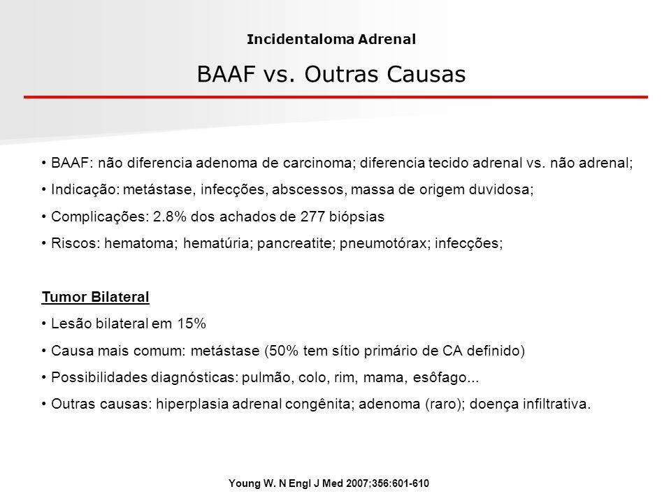 Young W. N Engl J Med 2007;356:601-610 Incidentaloma Adrenal BAAF vs. Outras Causas BAAF: não diferencia adenoma de carcinoma; diferencia tecido adren