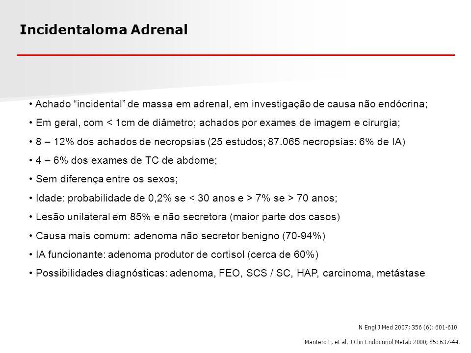 Incidentaloma Adrenal Achado incidental de massa em adrenal, em investigação de causa não endócrina; Em geral, com < 1cm de diâmetro; achados por exam