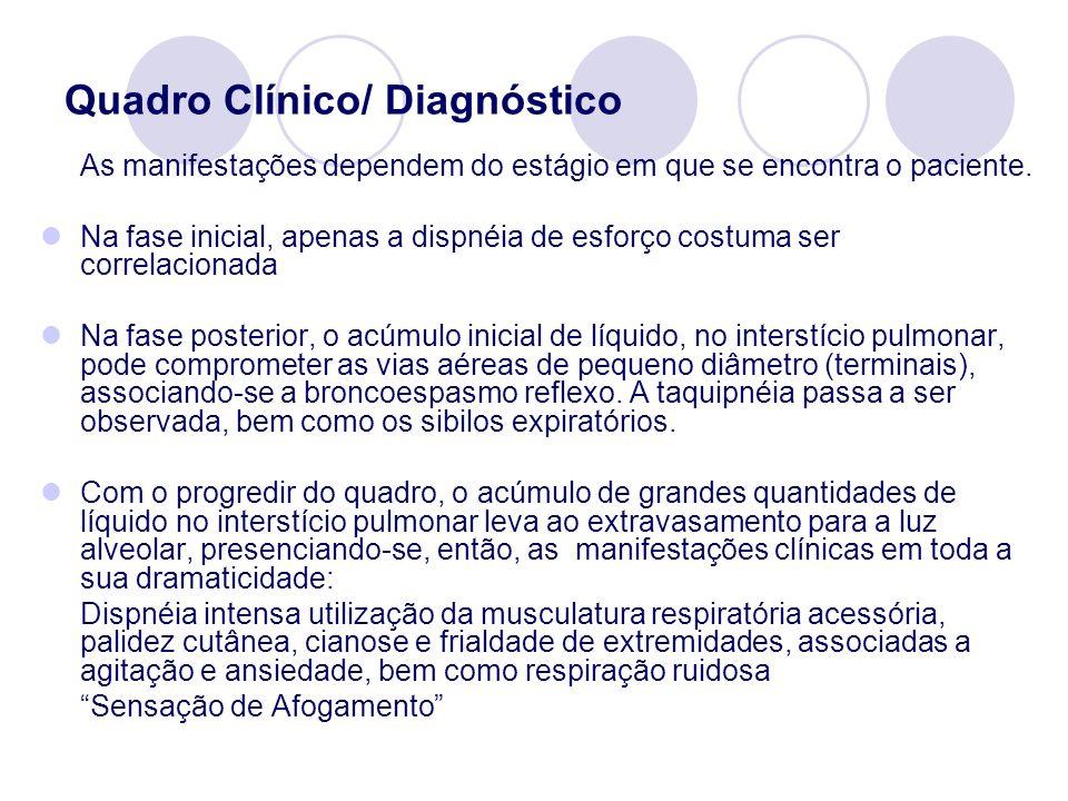 Quadro Clínico/ Diagnóstico As manifestações dependem do estágio em que se encontra o paciente. Na fase inicial, apenas a dispnéia de esforço costuma