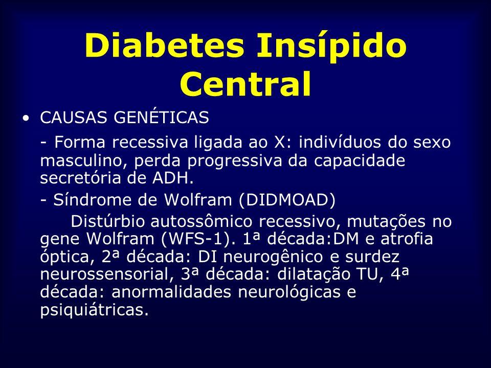 Diabetes Insípido Central CAUSAS GENÉTICAS - Forma recessiva ligada ao X: indivíduos do sexo masculino, perda progressiva da capacidade secretória de