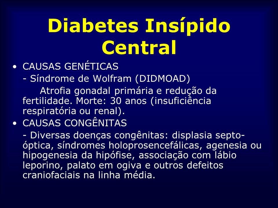 Diabetes Insípido Central CAUSAS GENÉTICAS - Síndrome de Wolfram (DIDMOAD) Atrofia gonadal primária e redução da fertilidade. Morte: 30 anos (insufici