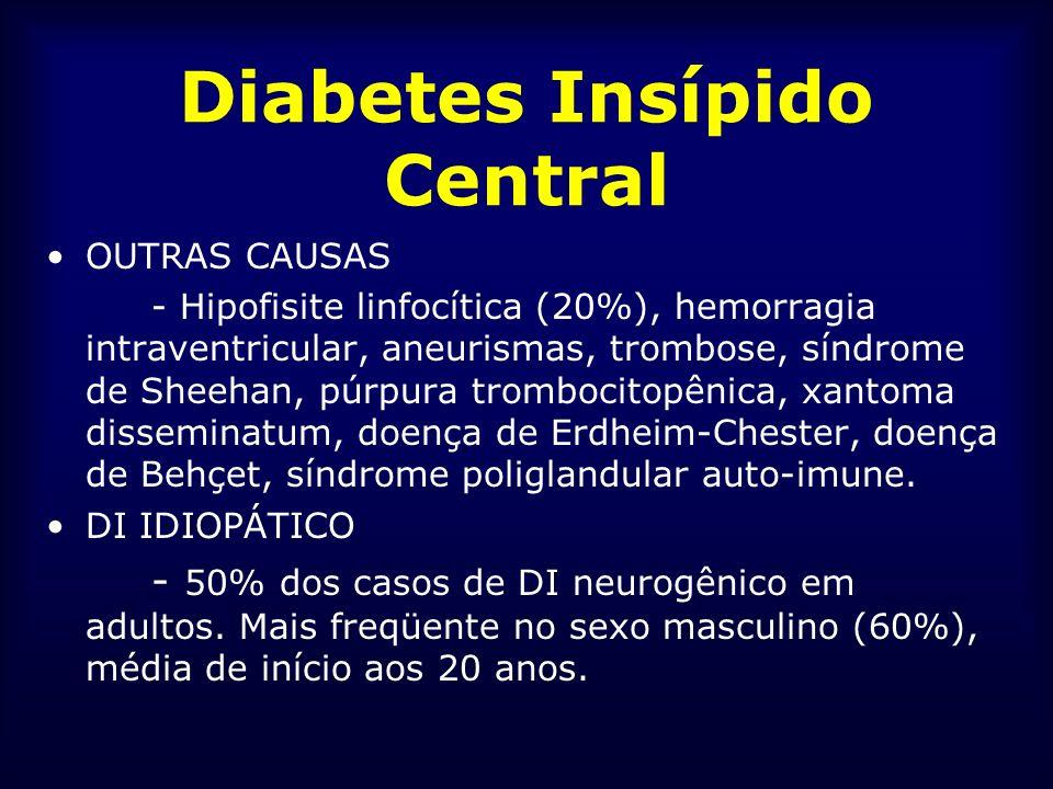 Diabetes Insípido Central OUTRAS CAUSAS - Hipofisite linfocítica (20%), hemorragia intraventricular, aneurismas, trombose, síndrome de Sheehan, púrpur