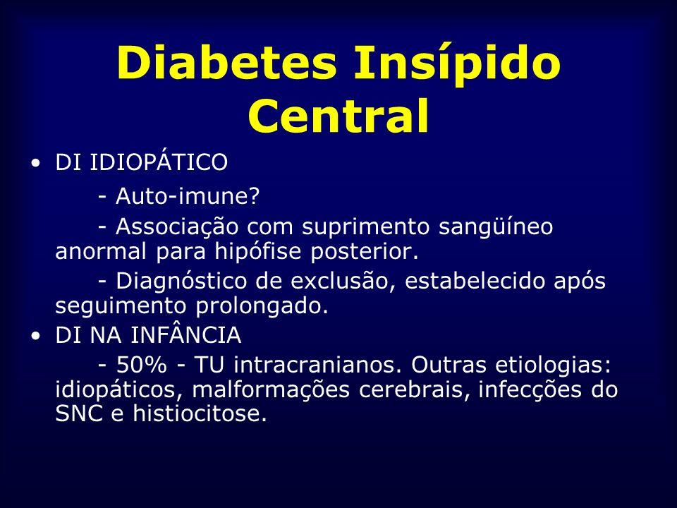 Diabetes Insípido Central DI IDIOPÁTICO - Auto-imune? - Associação com suprimento sangüíneo anormal para hipófise posterior. - Diagnóstico de exclusão