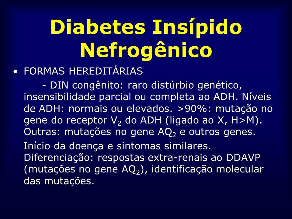 Diabetes Insípido Nefrogênico FORMAS HEREDITÁRIAS - DIN congênito: raro distúrbio genético, insensibilidade parcial ou completa ao ADH. Níveis de ADH:
