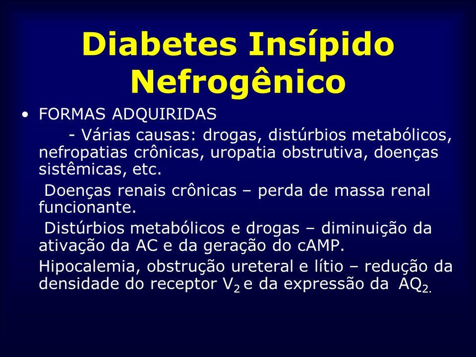 Diabetes Insípido Nefrogênico FORMAS ADQUIRIDAS - Várias causas: drogas, distúrbios metabólicos, nefropatias crônicas, uropatia obstrutiva, doenças si