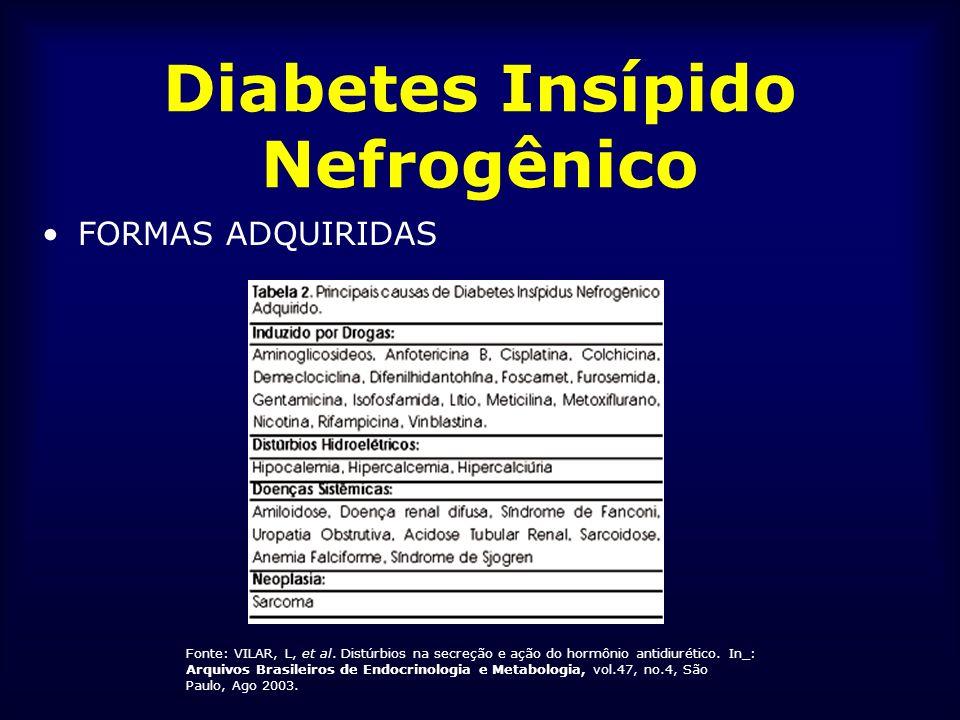 Diabetes Insípido Nefrogênico FORMAS ADQUIRIDAS Fonte: VILAR, L, et al. Distúrbios na secreção e ação do hormônio antidiurético. In_: Arquivos Brasile