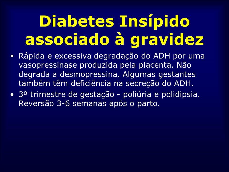 Diabetes Insípido associado à gravidez Rápida e excessiva degradação do ADH por uma vasopressinase produzida pela placenta. Não degrada a desmopressin