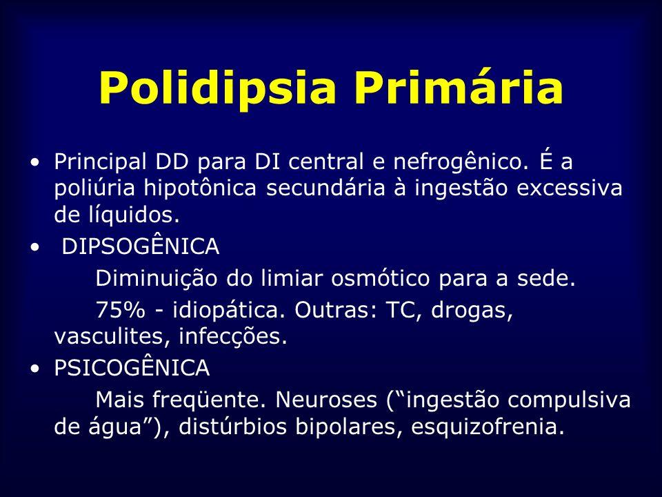 Polidipsia Primária Principal DD para DI central e nefrogênico. É a poliúria hipotônica secundária à ingestão excessiva de líquidos. DIPSOGÊNICA Dimin