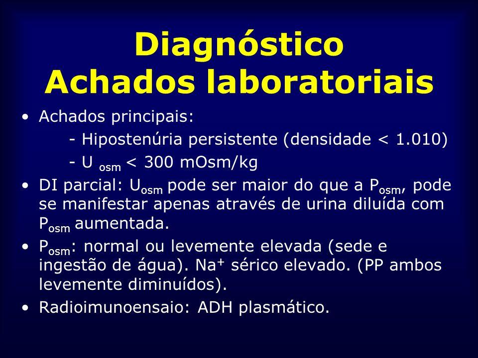 Diagnóstico Achados laboratoriais Achados principais: - Hipostenúria persistente (densidade < 1.010) - U osm < 300 mOsm/kg DI parcial: U osm pode ser