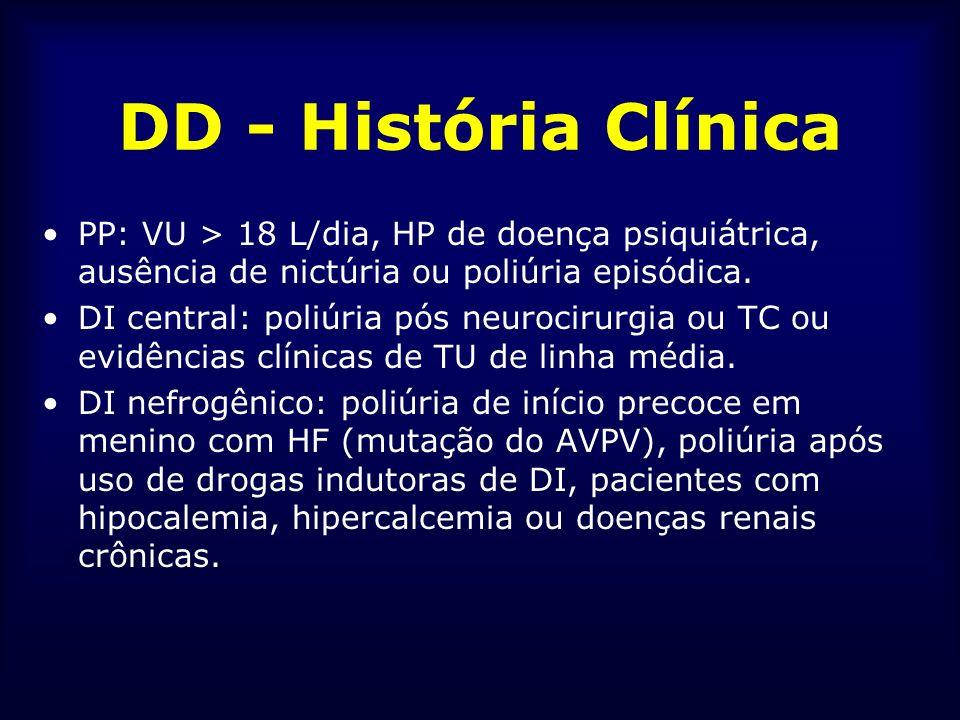 DD - História Clínica PP: VU > 18 L/dia, HP de doença psiquiátrica, ausência de nictúria ou poliúria episódica. DI central: poliúria pós neurocirurgia