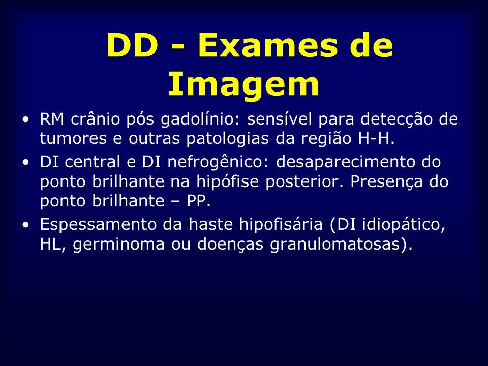 DD - Exames de Imagem RM crânio pós gadolínio: sensível para detecção de tumores e outras patologias da região H-H. DI central e DI nefrogênico: desap