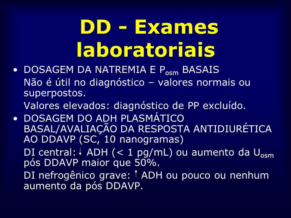 DD - Exames laboratoriais DOSAGEM DA NATREMIA E P osm BASAIS Não é útil no diagnóstico – valores normais ou superpostos. Valores elevados: diagnóstico
