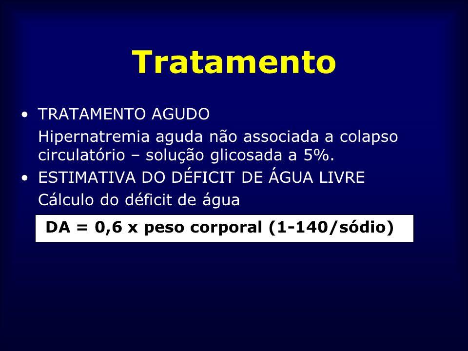 Tratamento TRATAMENTO AGUDO Hipernatremia aguda não associada a colapso circulatório – solução glicosada a 5%. ESTIMATIVA DO DÉFICIT DE ÁGUA LIVRE Cál