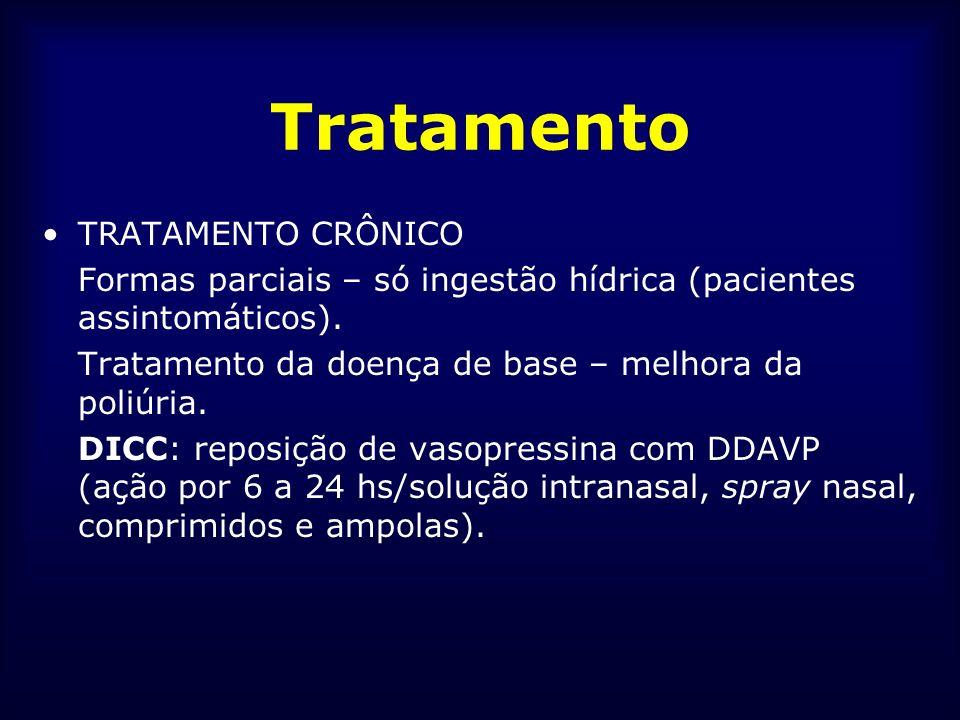 Tratamento TRATAMENTO CRÔNICO Formas parciais – só ingestão hídrica (pacientes assintomáticos). Tratamento da doença de base – melhora da poliúria. DI
