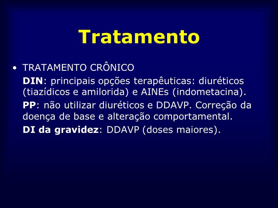 Tratamento TRATAMENTO CRÔNICO DIN: principais opções terapêuticas: diuréticos (tiazídicos e amilorida) e AINEs (indometacina). PP: não utilizar diurét