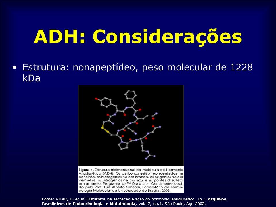 ADH: Considerações Síntese: - neurônios magnocelulares dos núcleos supra- ópticos e dos núcleos paraventriculares do hipotálamo - ADH e neurofisina II derivados de um precursor comum
