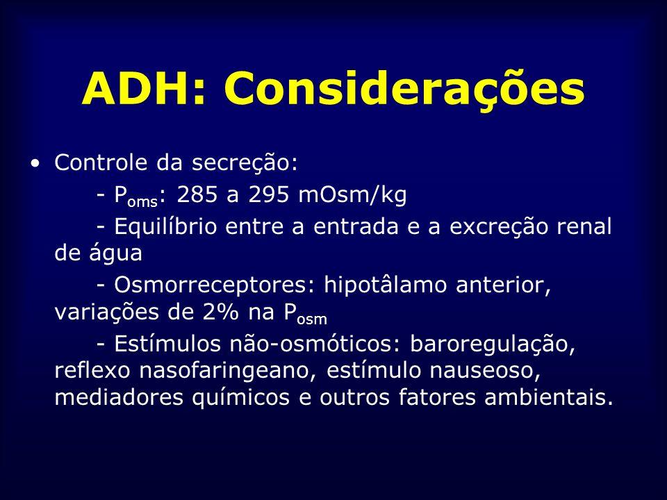 ADH: Considerações Controle da secreção: - P oms : 285 a 295 mOsm/kg - Equilíbrio entre a entrada e a excreção renal de água - Osmorreceptores: hipotâ