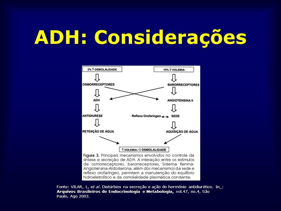 ADH: Considerações Mecanismo de ação: - 3 receptores: V1, V2 e V3 - V1: contração músculo liso vascular, síntese de PG e glicogenólise hepática (insensível ao DDAVP) - V2: ações renais do ADH (proteína G – cAMP) - V3: liberação do ACTH - Efeito renal: aumento da permeabilidade à água na membrana luminal do epitélio dos ductos coletores (aquaporinas – transporte transcelular de água)