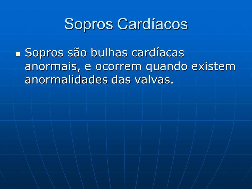 Sopros Cardíacos Sopros são bulhas cardíacas anormais, e ocorrem quando existem anormalidades das valvas.