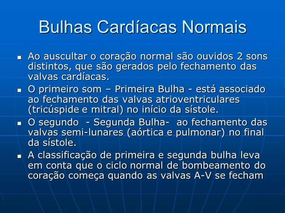 Bulhas Cardíacas Normais Ao auscultar o coração normal são ouvidos 2 sons distintos, que são gerados pelo fechamento das valvas cardíacas.