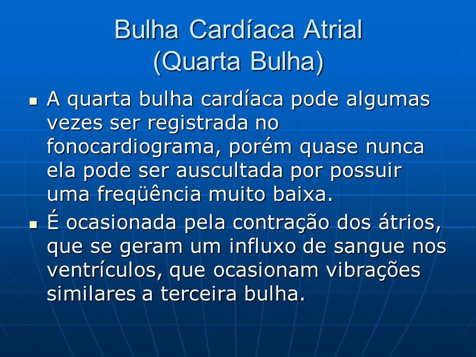 Bulha Cardíaca Atrial (Quarta Bulha) A quarta bulha cardíaca pode algumas vezes ser registrada no fonocardiograma, porém quase nunca ela pode ser auscultada por possuir uma freqüência muito baixa.