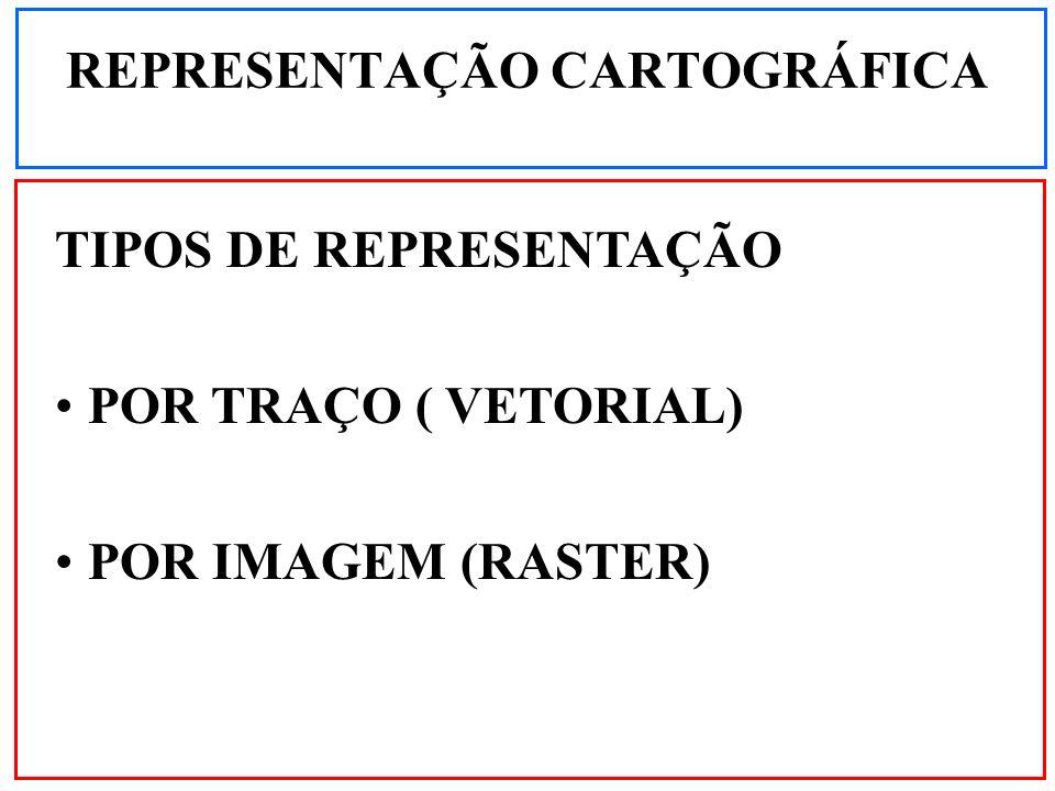 REPRESENTAÇÃO CARTOGRÁFICA TIPOS DE REPRESENTAÇÃO POR TRAÇO ( VETORIAL) POR IMAGEM (RASTER)