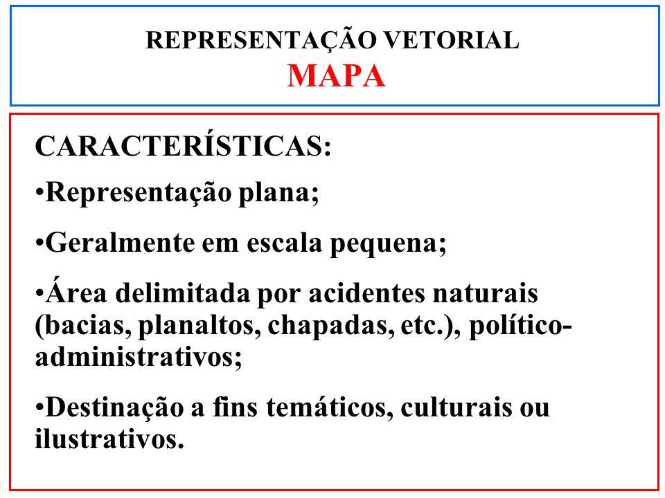 CARACTERÍSTICAS: Representação plana; Geralmente em escala pequena; Área delimitada por acidentes naturais (bacias, planaltos, chapadas, etc.), políti