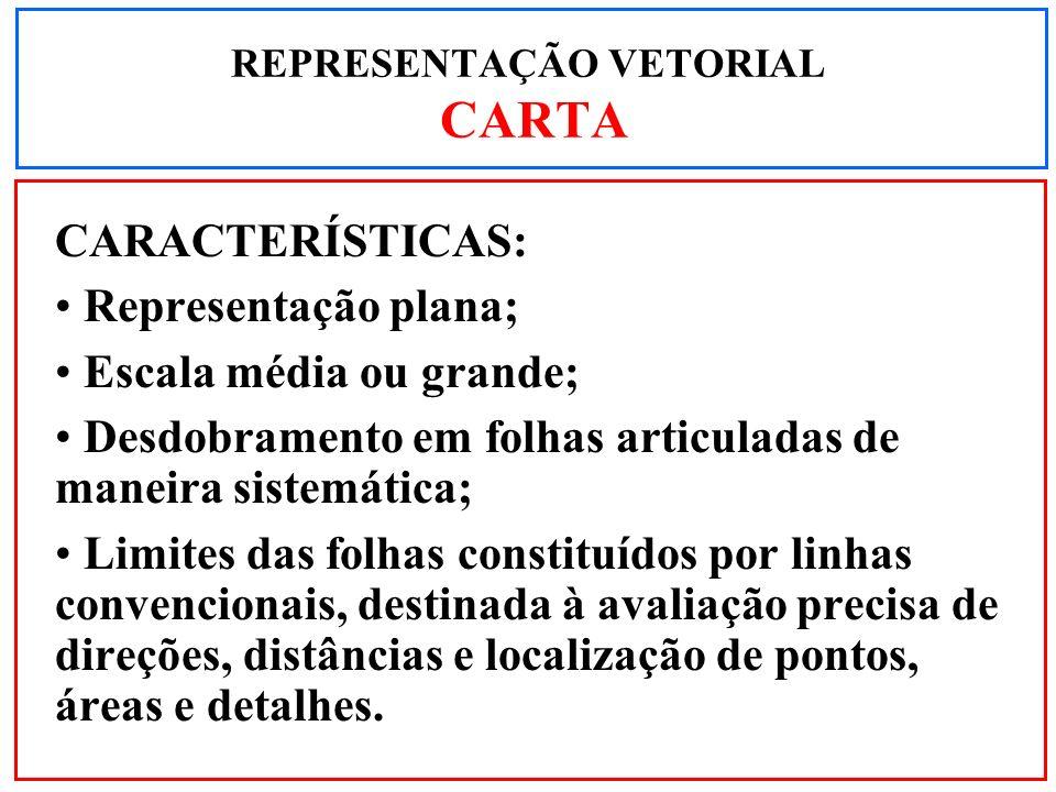 CARACTERÍSTICAS: Representação plana; Escala média ou grande; Desdobramento em folhas articuladas de maneira sistemática; Limites das folhas constituí