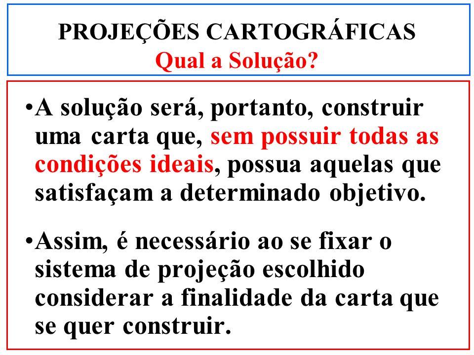 A solução será, portanto, construir uma carta que, sem possuir todas as condições ideais, possua aquelas que satisfaçam a determinado objetivo. Assim,
