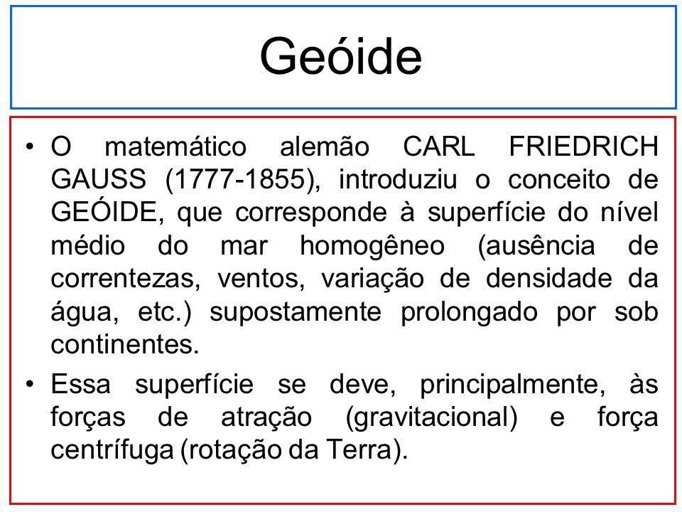 Geóide O matemático alemão CARL FRIEDRICH GAUSS (1777-1855), introduziu o conceito de GEÓIDE, que corresponde à superfície do nível médio do mar homog
