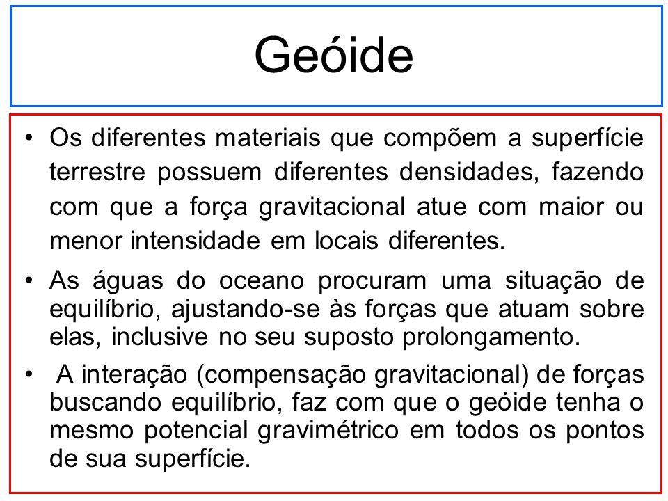 Geóide Os diferentes materiais que compõem a superfície terrestre possuem diferentes densidades, fazendo com que a força gravitacional atue com maior