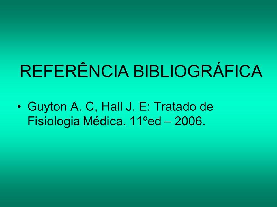 REFERÊNCIA BIBLIOGRÁFICA Guyton A. C, Hall J. E: Tratado de Fisiologia Médica. 11ºed – 2006.
