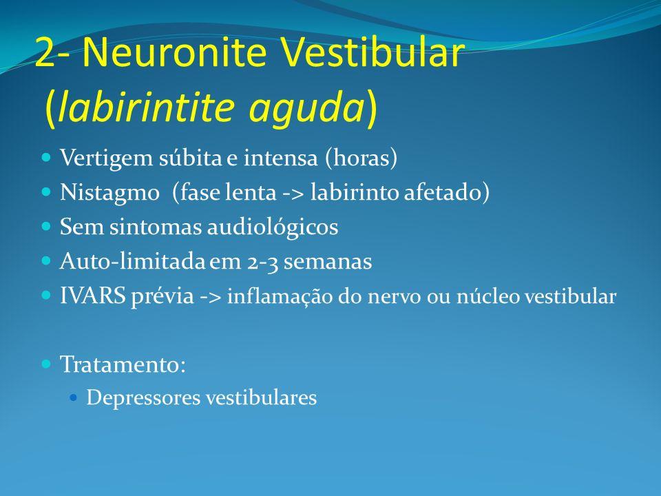 2- Neuronite Vestibular (labirintite aguda) Vertigem súbita e intensa (horas) Nistagmo (fase lenta -> labirinto afetado) Sem sintomas audiológicos Aut