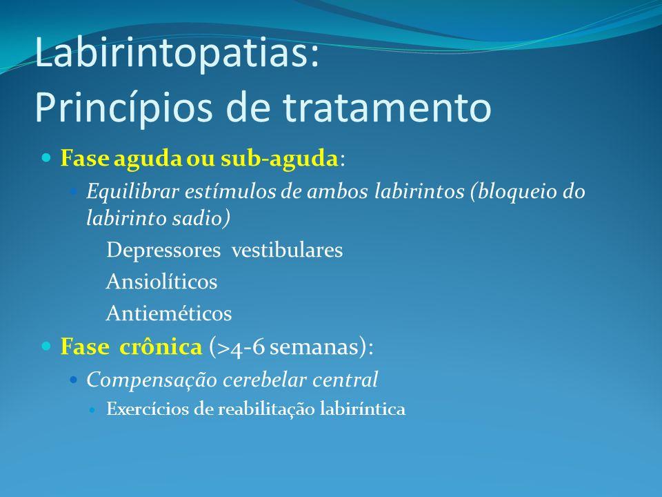 Labirintopatias: Princípios de tratamento Fase aguda ou sub-aguda: Equilibrar estímulos de ambos labirintos (bloqueio do labirinto sadio) Depressores