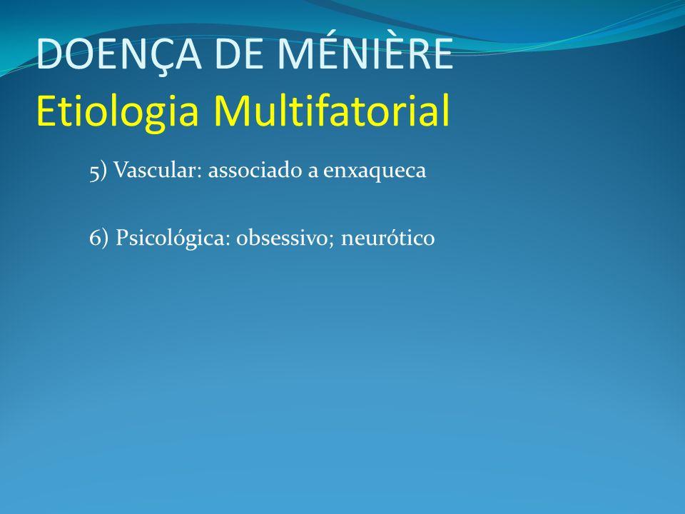 DOENÇA DE MÉNIÈRE Etiologia Multifatorial 5) Vascular: associado a enxaqueca 6) Psicológica: obsessivo; neurótico