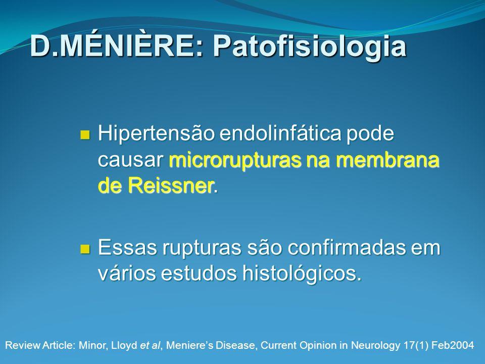D.MÉNIÈRE: Patofisiologia Hipertensão endolinfática pode causar microrupturas na membrana de Reissner. Hipertensão endolinfática pode causar microrupt