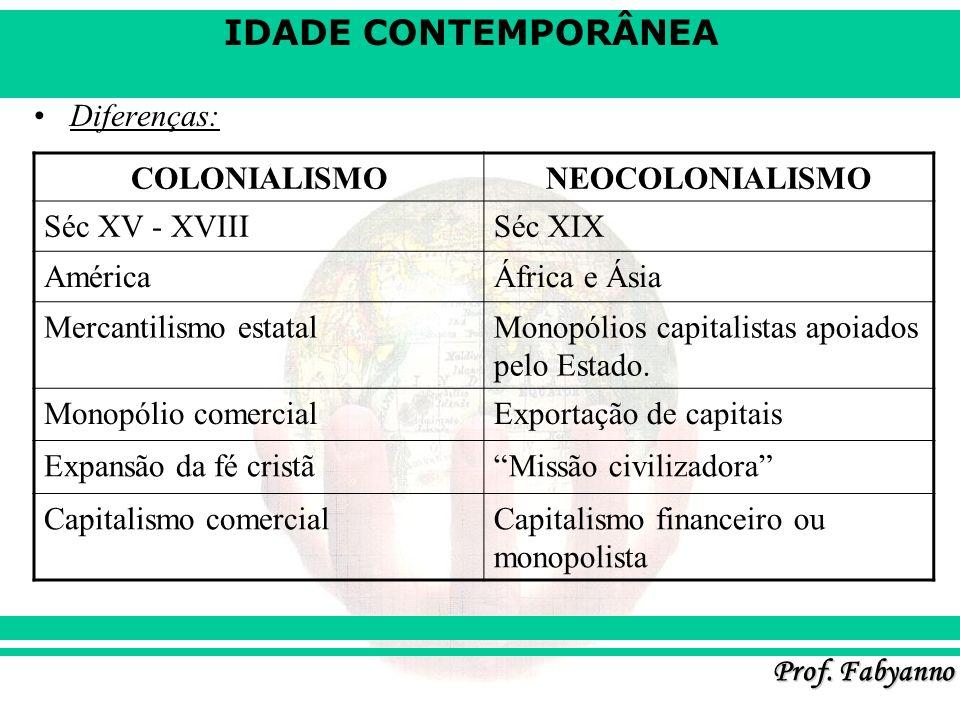 IDADE CONTEMPORÂNEA Prof. Fabyanno Diferenças: COLONIALISMONEOCOLONIALISMO Séc XV - XVIIISéc XIX AméricaÁfrica e Ásia Mercantilismo estatalMonopólios