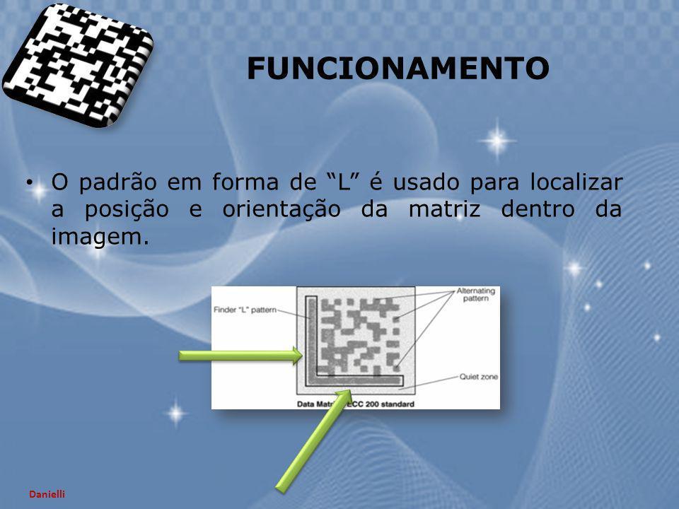 O padrão em forma de L é usado para localizar a posição e orientação da matriz dentro da imagem. FUNCIONAMENTO Danielli