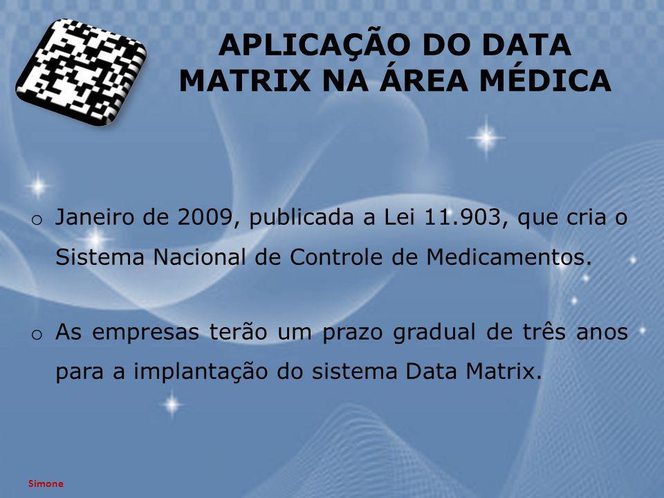 APLICAÇÃO DO DATA MATRIX NA ÁREA MÉDICA o Janeiro de 2009, publicada a Lei 11.903, que cria o Sistema Nacional de Controle de Medicamentos. o As empre
