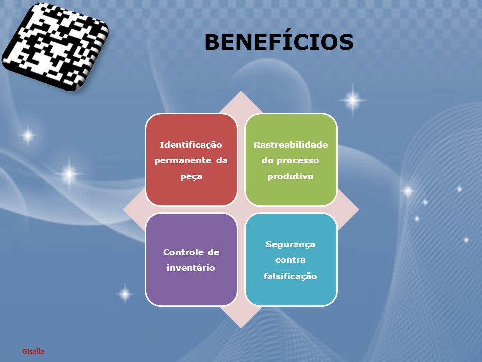 BENEFÍCIOS Giselle Identificação permanente da peça Rastreabilidade do processo produtivo Controle de inventário Segurança contra falsificação