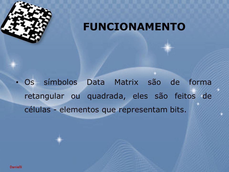 FUNCIONAMENTO Os símbolos Data Matrix são de forma retangular ou quadrada, eles são feitos de células - elementos que representam bits. Danielli