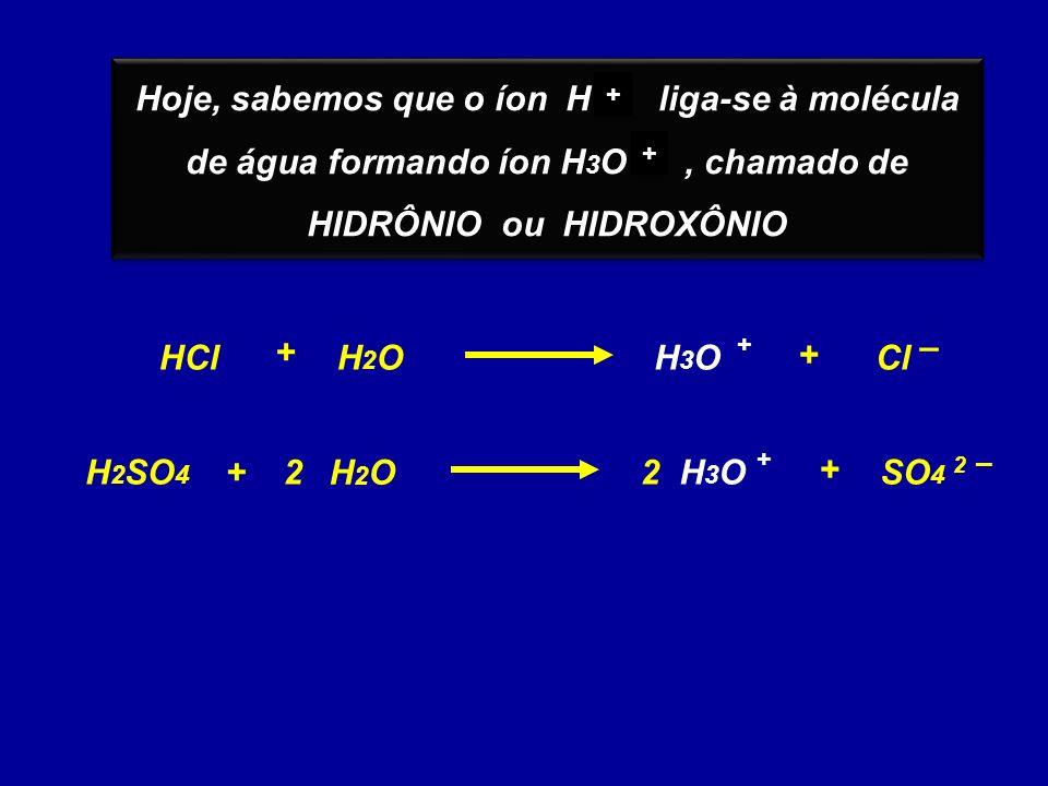 Hoje, sabemos que o íon H liga-se à molécula de água formando íon H 3 O, chamado de HIDRÔNIO ou HIDROXÔNIO Hoje, sabemos que o íon H liga-se à molécula de água formando íon H 3 O, chamado de HIDRÔNIO ou HIDROXÔNIO + + + + HClClH3OH3O + – + H2OH2O + H 2 SO 4 2 2 –2 – + SO 4 H2OH2O +H3OH3O + 2