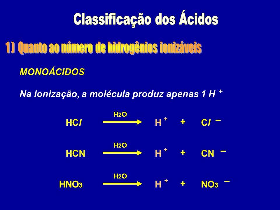 HClClClH + – + H2OH2O MONOÁCIDOS Na ionização, a molécula produz apenas 1 H HCNCNH + – + H2OH2O HNO 3 NO 3 H + – + H2OH2O +