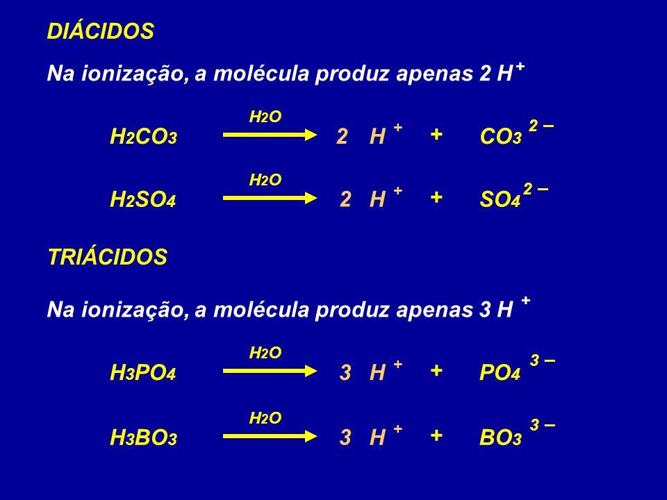 H 2 CO 3 CO 3 H + 2 –2 – + H2OH2O DIÁCIDOS Na ionização, a molécula produz apenas 2 H H 2 SO 4 SO 4 H + + H2OH2O + 2 –2 – 2 2 H 3 PO 4 PO 4 H + 3 –3 – + H2OH2O TRIÁCIDOS Na ionização, a molécula produz apenas 3 H H 3 BO 3 BO 3 H + + H2OH2O + 3 –3 – 3 3