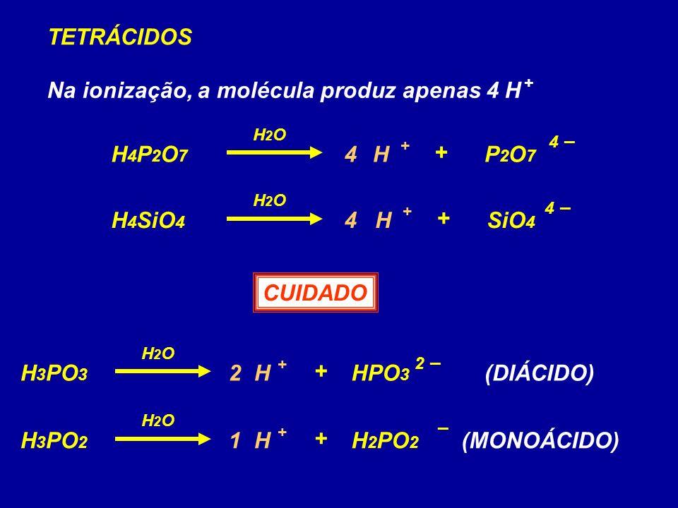H4P2O7H4P2O7 P2O7P2O7 H + 4 –4 – + H2OH2O TETRÁCIDOS Na ionização, a molécula produz apenas 4 H H 4 SiO 4 SiO 4 H + + H2OH2O + 4 –4 – 4 4 CUIDADO H 3 PO 3 HPO 3 H + 2 –2 – + H2OH2O 2 H 3 PO 2 H 2 PO 2 H + – + H2OH2O 1 (DIÁCIDO) (MONOÁCIDO)