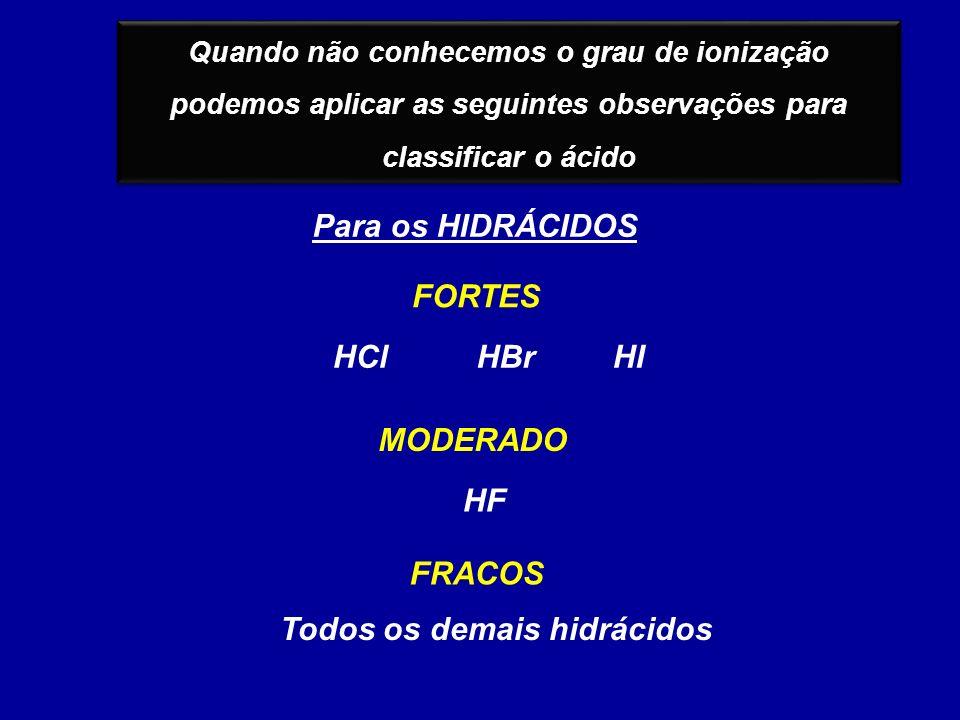 Quando não conhecemos o grau de ionização podemos aplicar as seguintes observações para classificar o ácido Para os HIDRÁCIDOS FRACOS MODERADO FORTES HClHBrHI HF Todos os demais hidrácidos