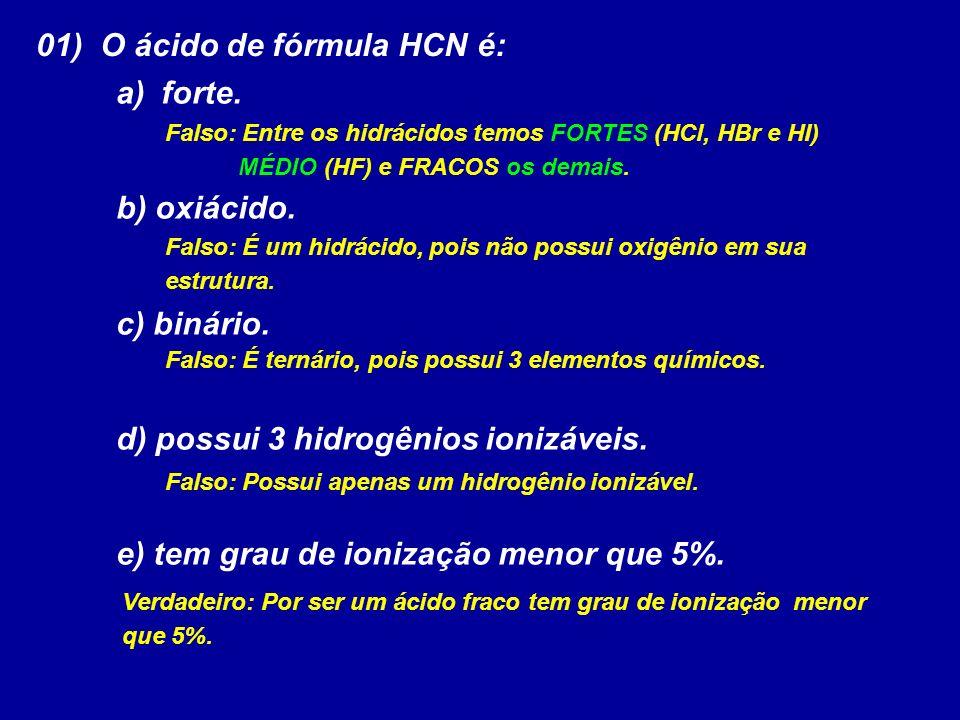 01) O ácido de fórmula HCN é: a) forte.b) oxiácido.